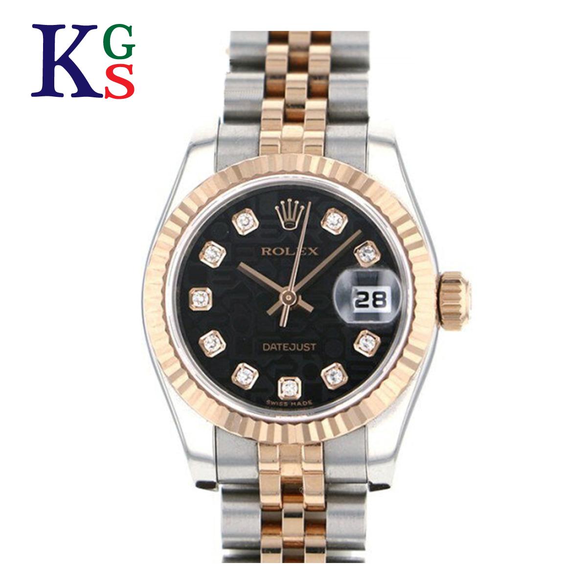 【ギフト品質】ロレックス/ROLEX レディース 腕時計 デイトジャスト コンピューター文字盤(ブラック) エバーローズゴールド 10Pダイヤ×K18PG×ステンレススチール 自動巻き オートマティック 179171G【30】