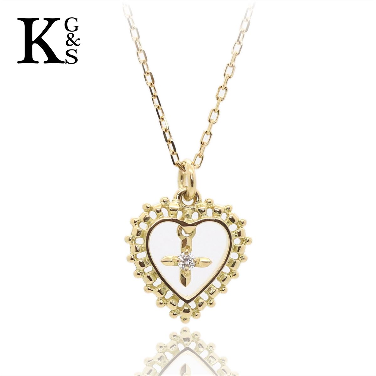 【ギフト品質】AHKAH / アーカー レディース ジュエリー ラブランハート 1Pダイヤ ネックレス イエローゴールド K18YG 1227