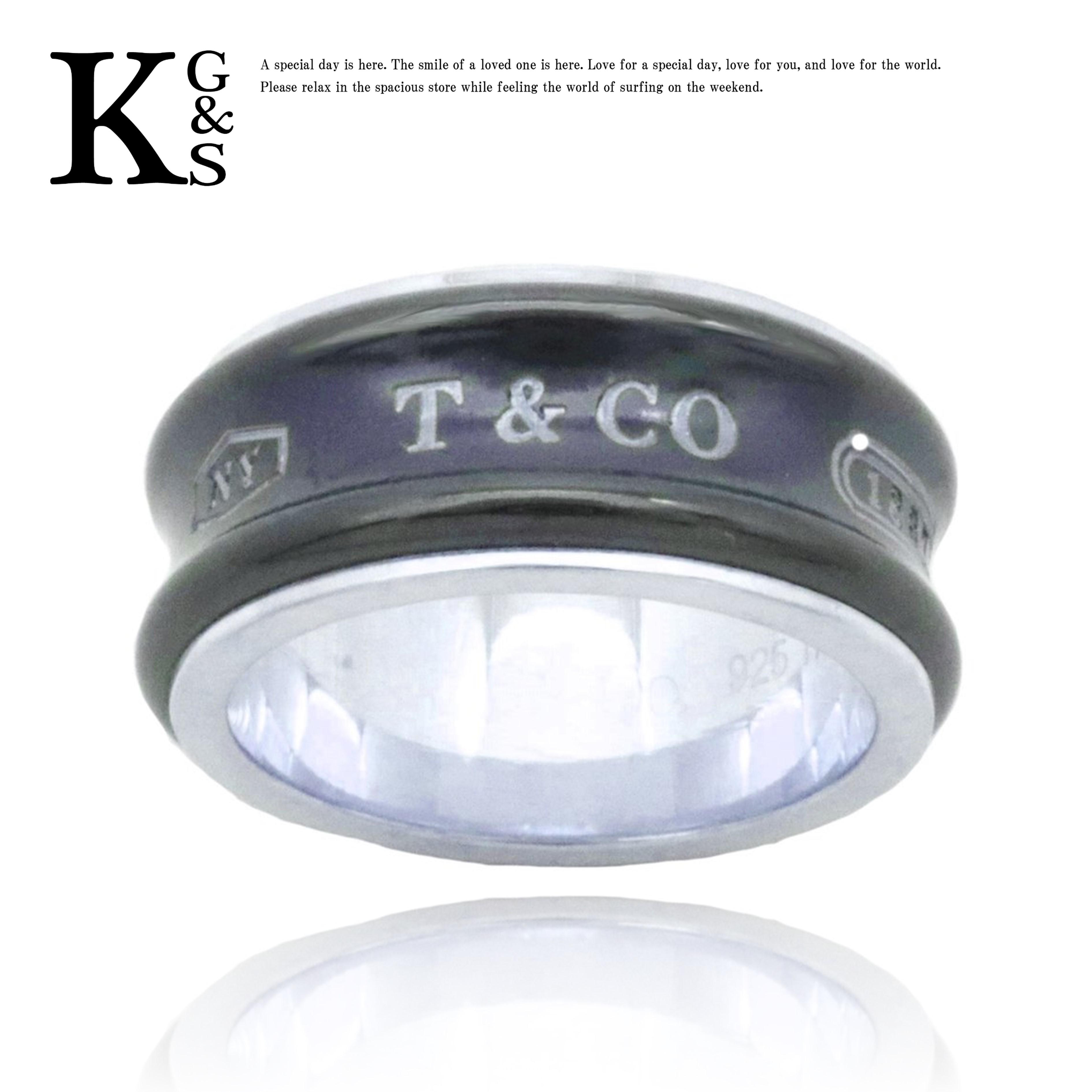 【中古】【10号】【訳有】ティファニー/Tiffany&co レディース ジュエリー 1837 ナローリング/指輪 ミディアム ブラックxシルバー Ag925xチタン