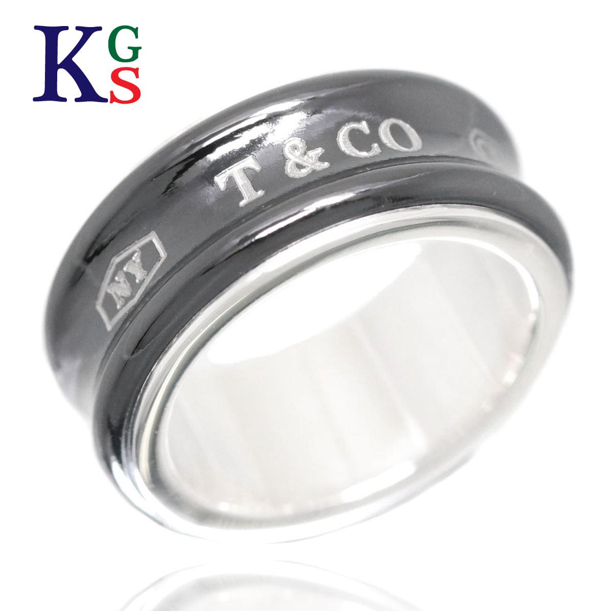 【ギフト品質】【名入れ】ティファニー/Tiffany&co レディース ジュエリー 1837 ナローリング/指輪 ミディアム ブラックxシルバー Ag925xチタン