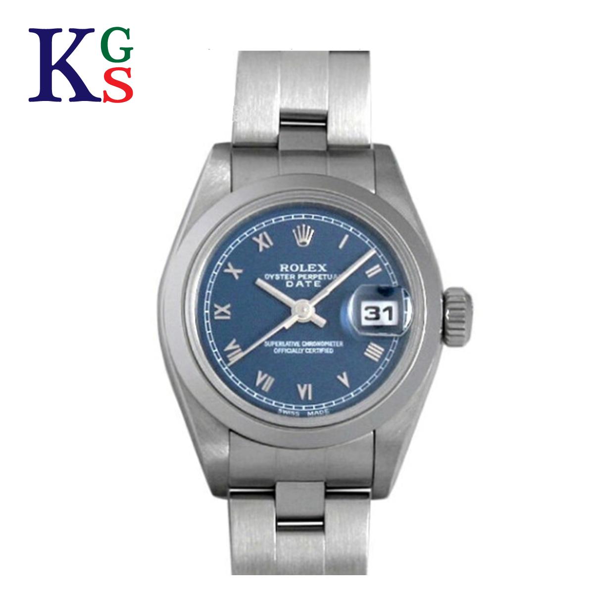 【ギフト品質】ロレックス/ROLEX レディース 腕時計 オイスターパーペチュアルデイト ネイビー文字盤 ローマインデックス シルバー ステンレススチール 69160 自動巻き