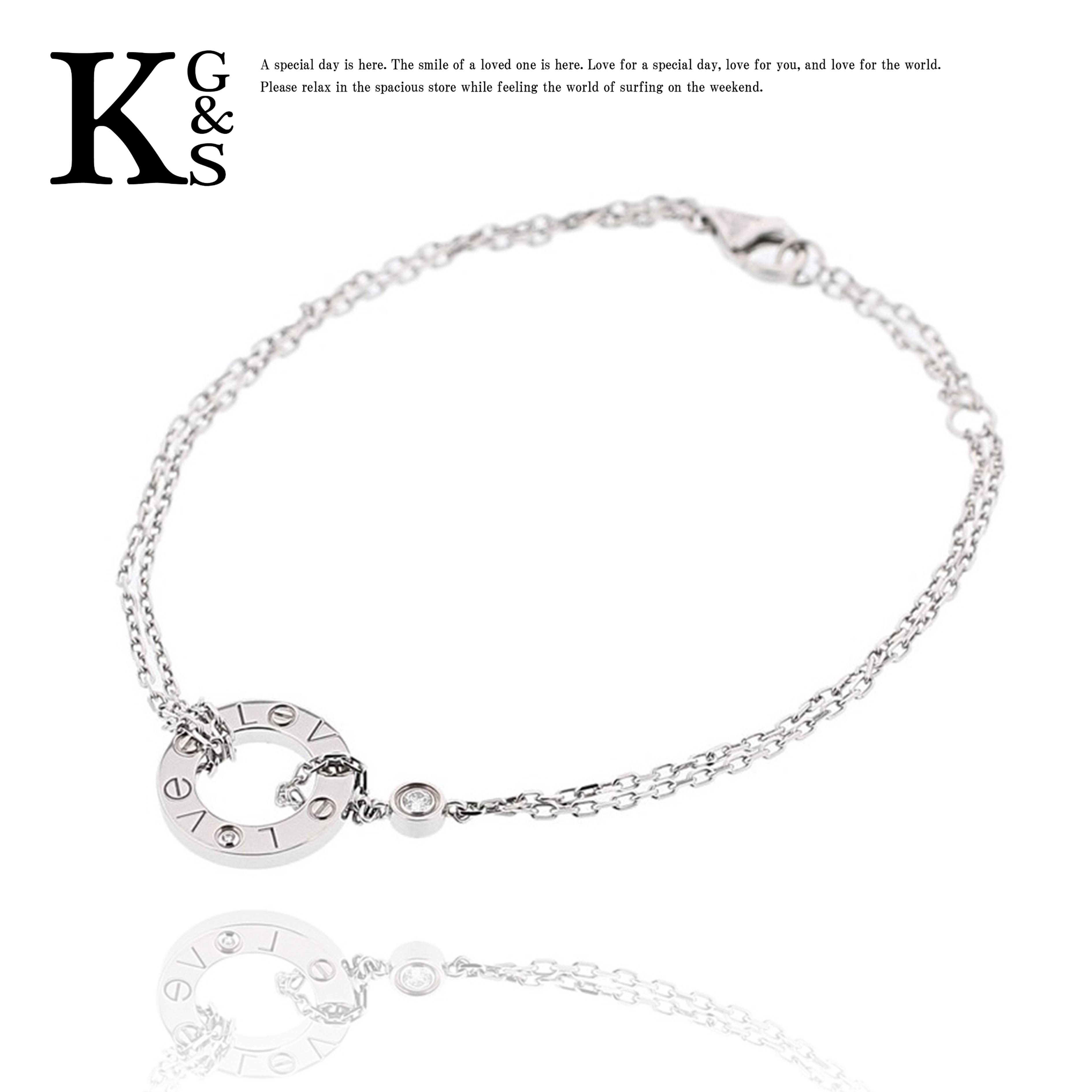 【ギフト品質】カルティエ/Cartier レディース ラブサークル 2Pダイヤ(0.03ct) ブレスレット K18WG ホワイトゴールド B6038100