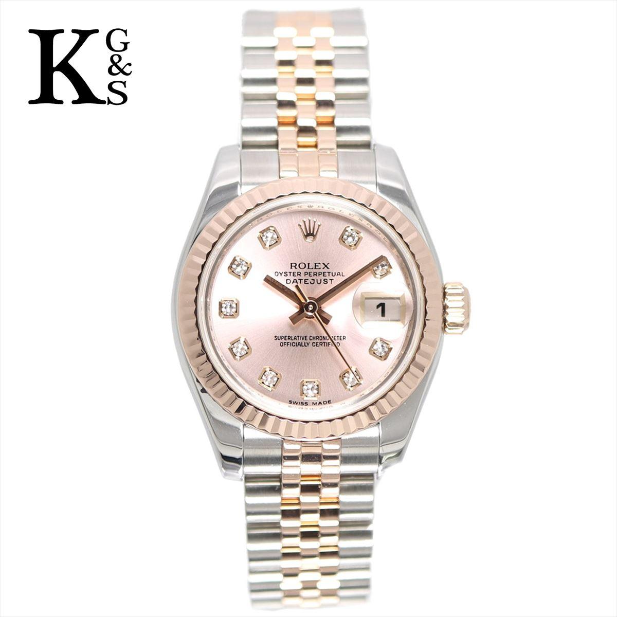 【ギフト品質】ロレックス/ROLEX レディース 腕時計 デイトジャスト ピンク文字盤 エバーローズゴールド 10Pダイヤ×K18PG×ステンレススチール 自動巻き オートマティック 179171G
