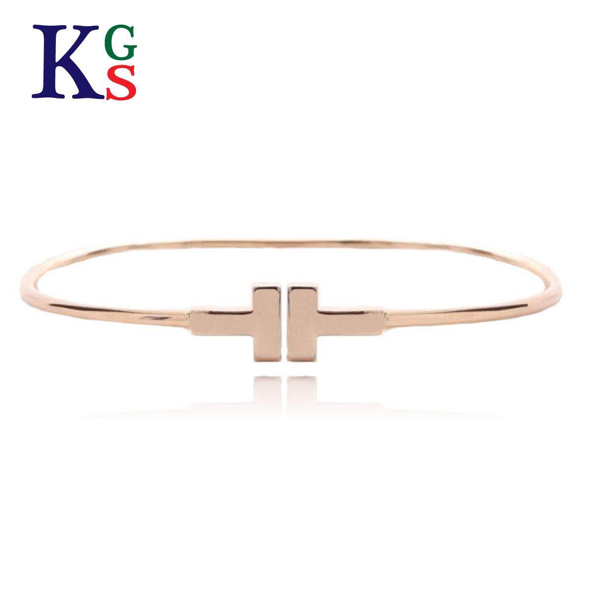 【ギフト品質】ティファニー/Tiffany&co T ナロー ワイヤー ブレスレット バングル K18PG ピンクゴールド レディース