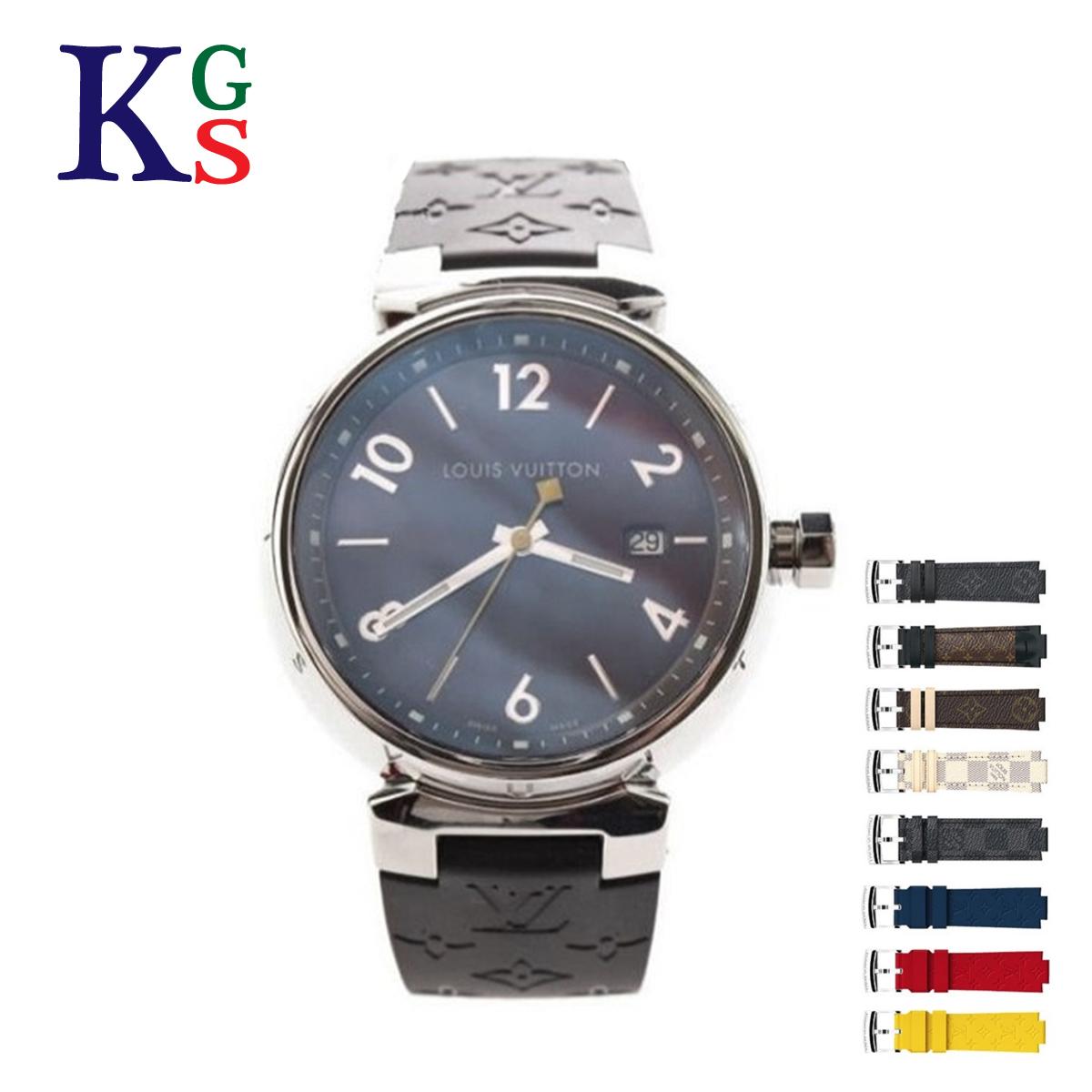 【ギフト品質】ルイヴィトン/Louis Vuitton メンズ 腕時計 タンブールGM 39mm メンズウォッチ ブラウン文字盤×モノグラム ラバーベルト(ブラック) クオーツ Q1111