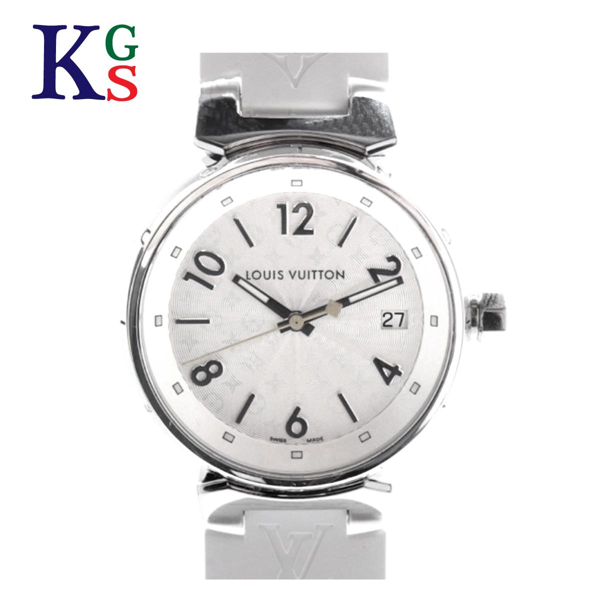 【ギフト品質】ルイヴィトン/Louis Vuitton レディース 腕時計 タンブールMM ホログラム ホワイト文字盤 ステンレススチール×ラバーベルト Q1313