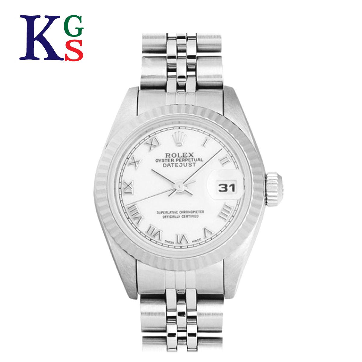 【ギフト品質】ロレックス/ROLEX レディース 腕時計 デイトジャスト K18WG×SS ホワイト文字盤 ローマ文字盤 69174