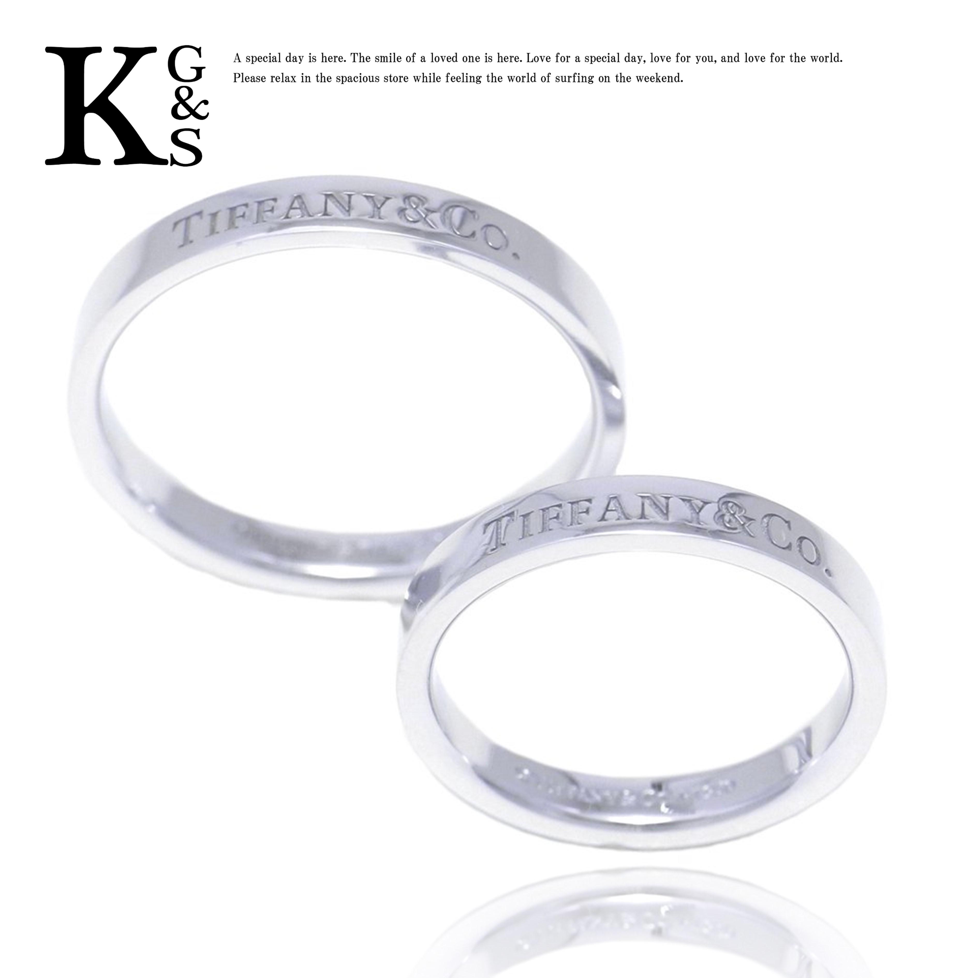 【ギフト品質】【名入れ】ティファニー/Tiffany&co フラット バンドリング ペアリング マリッジリング Pt950 プラチナ 結婚指輪