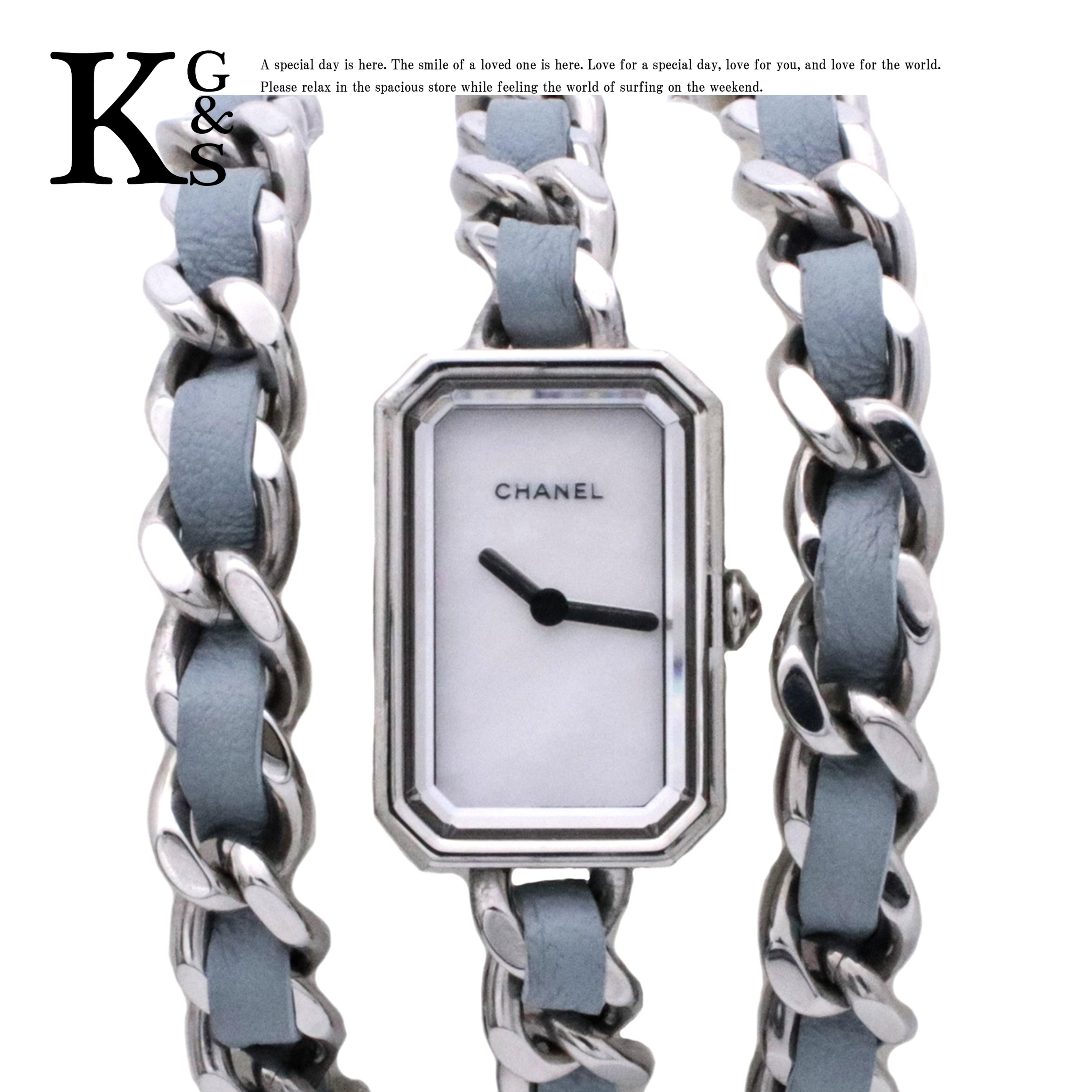 【ギフト品質】【世界限定1,000本】シャネル/CHANEL レディース プルミエール ロック パステルブルー 3連ブレスレット シェル文字盤 腕時計 クオーツ H4327