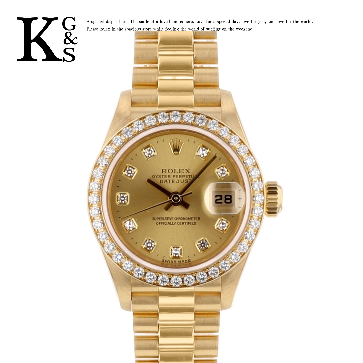 【ギフト品質】ロレックス/ROLEX レディース 腕時計 デイトジャスト 79138G ベゼルダイヤ シャンパンゴールド 10P文字盤 K18YG 金無垢 自動巻き オートマチック
