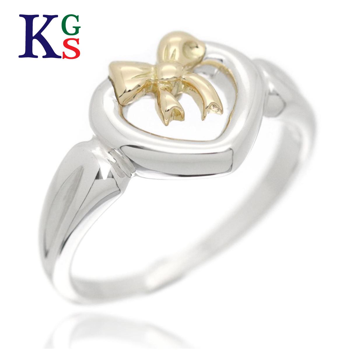 【ギフト品質】【名入れ】【4号~16号】ティファニー/Tiffany&co レディース ハートリボン リング 指輪 K18YG×Ag925 イエローゴールド×シルバー コンビ