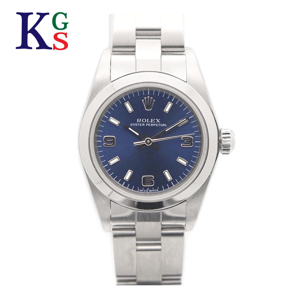 【ギフト品質】ロレックス/ROLEX レディース 腕時計 オイスターパーペチュアル アラビアインデックス ネイビー文字盤 シルバー 76080 自動巻き