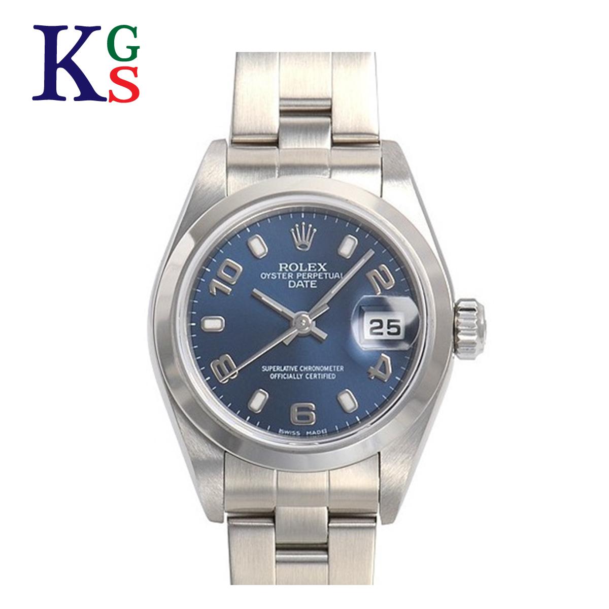 【ギフト品質】ロレックス/ROLEX レディース 腕時計 オイスターパーペチュアル デイト ネイビー文字盤 アラビアン&バー インデックス ステンレススチール 79160