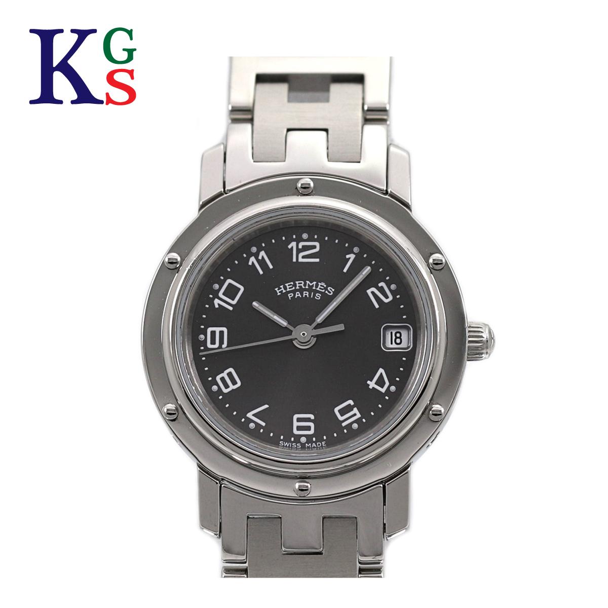 【新古品】エルメス/Hermes レディース 腕時計 クリッパー ブラック文字盤 ブラック文字盤 ブラック文字盤 クオーツ 電池式 ステンレススチール CL4.210 1d7
