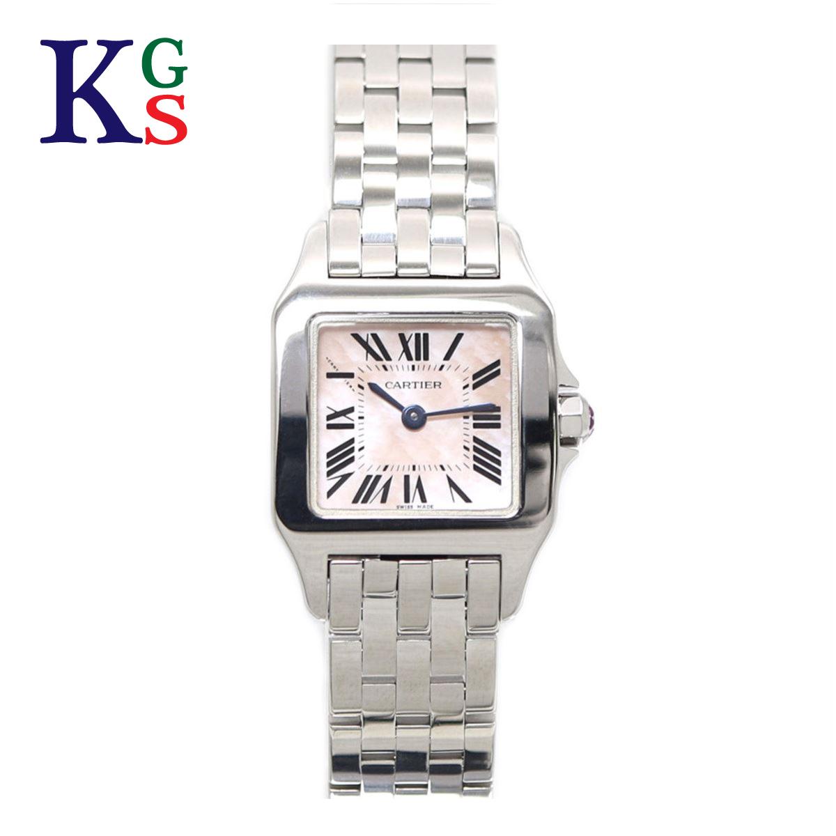 【ギフト品質】カルティエ/Cartier レディース 腕時計 サントス ドゥモワゼル SM ピンクシェル文字盤 ステンレススチール W25075Z5