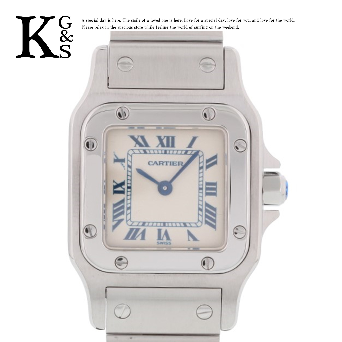【ギフト品質】カルティエ/Cartier レディース 腕時計 サントスガルべSM ホワイト文字盤 ブルーインデックス ステンレススチール クオーツ W20056D6