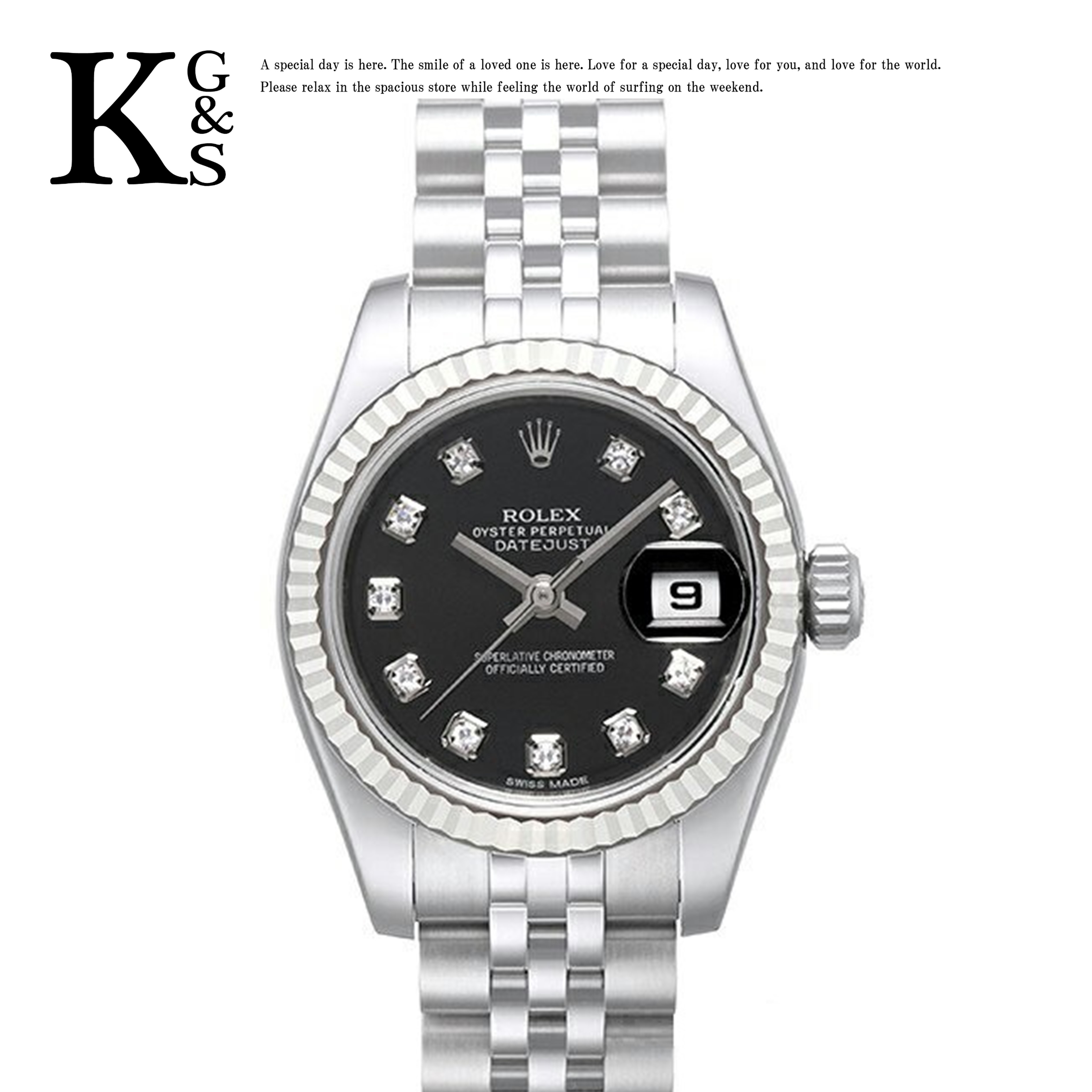 【ギフト品質】ロレックス/ROLEX レディース 腕時計 デイトジャスト ブラック文字盤 10Pダイヤ ホワイトゴールド K18WG×ステンレススチール 自動巻き オートマチック 179174G