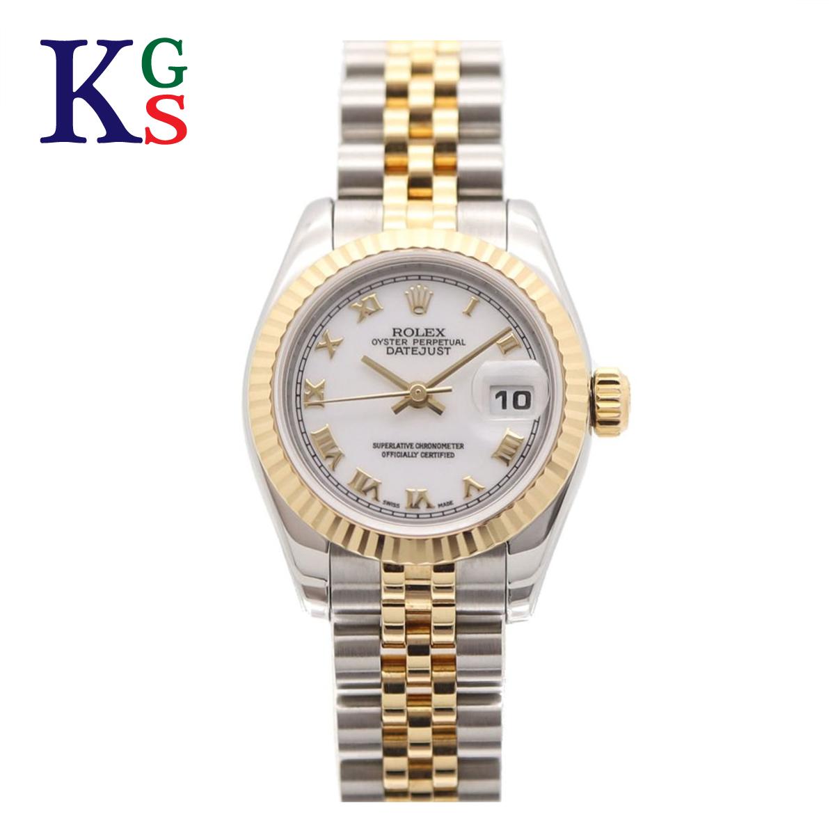 【ギフト品質】ロレックス/ROLEX レディース 腕時計 デイトジャスト ホワイト文字盤 ローマン K18YG ステンレススチール 自動巻き 179173