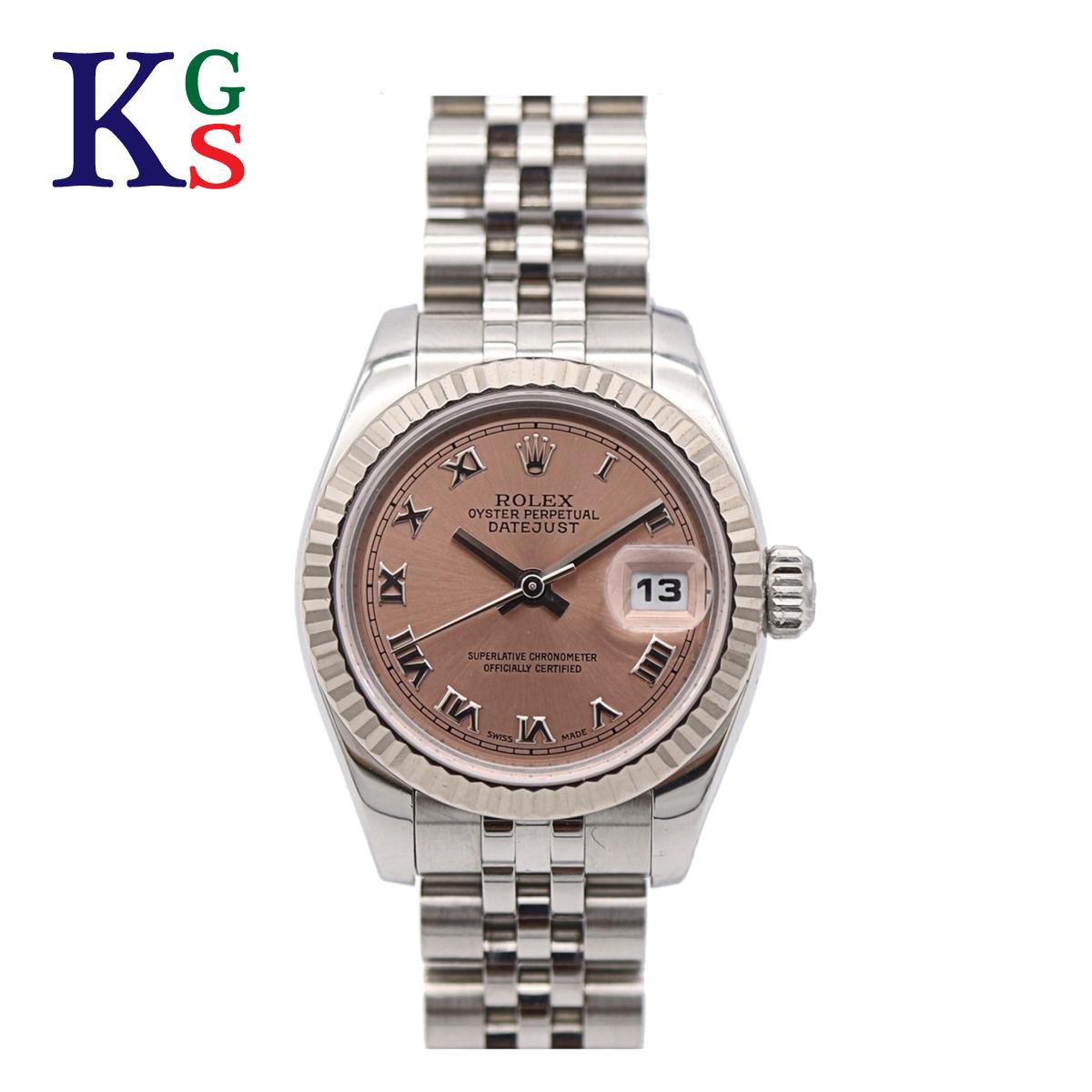 【ギフト品質】ロレックス/ROLEX レディース 腕時計 デイトジャスト ピンク文字盤 ローマン ステンレススチール×K18WG 自動巻き 179174