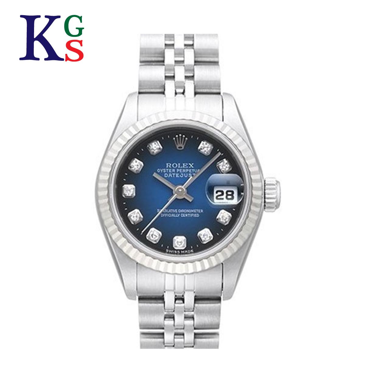 【ギフトランク】ロレックス/ROLEX レディース 腕時計 デイトジャスト ブルーグラデーション文字盤 シルバーxホワイトゴールド コンビ 新10Pダイヤモンド ステンレススチールxK18WG 69174G