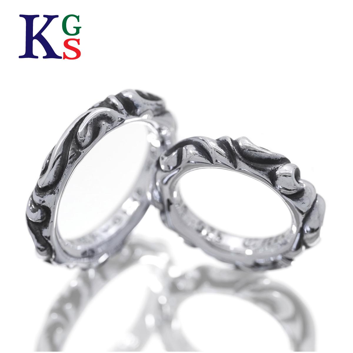 【ギフト品質】クロムハーツ/CHROME HEARTS ジュエリー ペアリング 指輪 メンズ レディース ユニセックス / スクロールバンドリング シルバー Ag925 燻 波モチーフ
