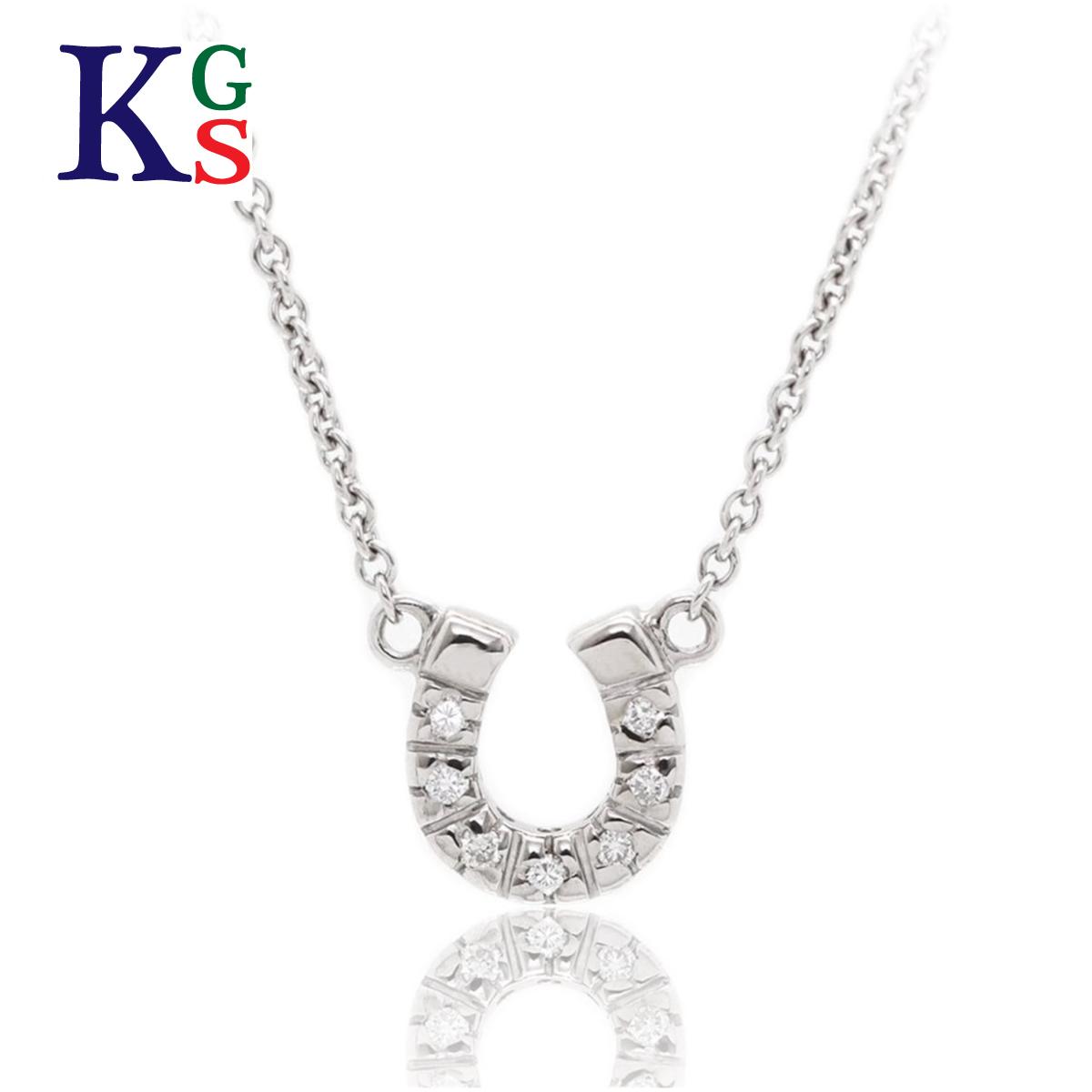 【ギフト品質】スタージュエリー/STAR JEWELRY レディース ジュエリー ホースシュー 馬蹄 ネックレス K18WG ホワイトゴールド 7Pダイヤ 2.6g