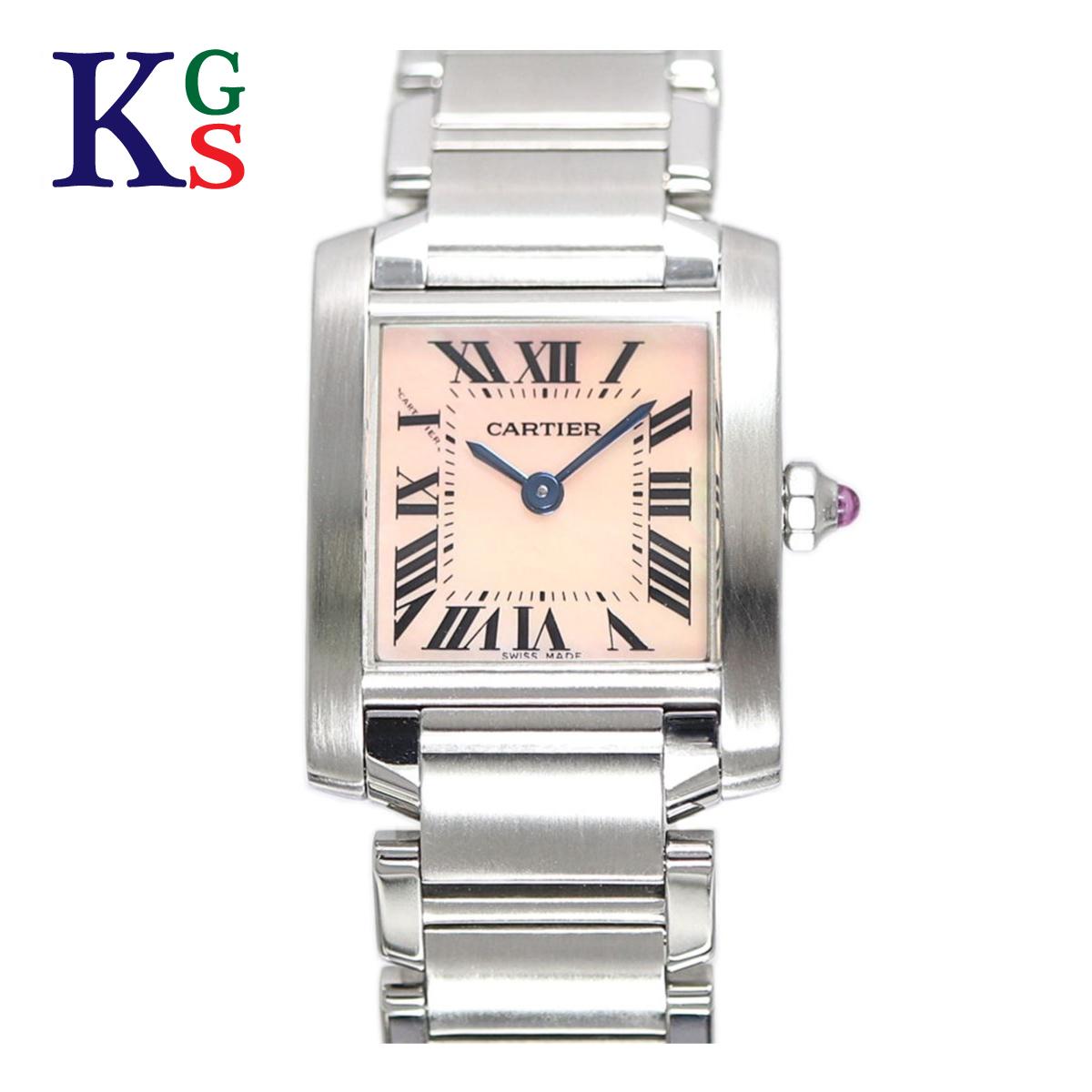 【ギフト品質】カルティエ/Cartier レディース 腕時計 タンクフランセーズSM ピンクシェル文字盤 ステンレススチール クオーツ W51028Q3