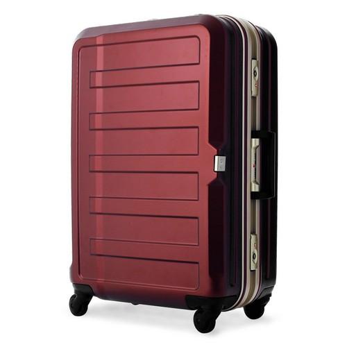 TSAロック付きエンボス加工フレームタイプキャリーケース ワインレッド【M】本体サイズ60cm×42cm×27cm