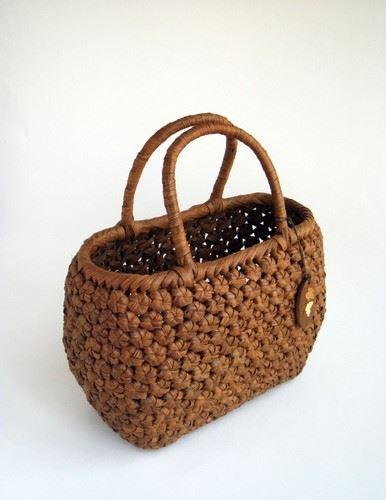 山葡萄かごバッグ ハンドバッグ ヤマコー やまぶどう籠バッグ 小舟 花編 削皮