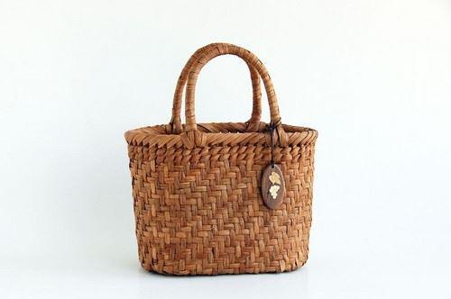 山葡萄かごバッグ ハンドバッグ ヤマコー やまぶどう籠バッグ 小判 網代編 削皮 内布付