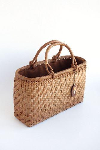 山葡萄かごバッグ ハンドバッグ ヤマコー やまぶどう籠バッグ 横長 かぶせ・内布付