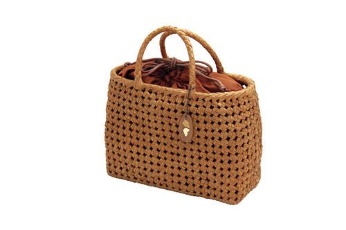 山葡萄かごバッグ ハンドバッグ ヤマコー やまぶどう籠バッグ 石畳編 中 巾着付