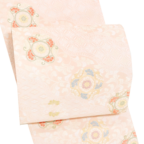 高島織物 袋帯 礼装用 仕立て付き 西陣織 礼装 正絹 フォーマル 新品 販売 購入 未仕立て 薄ピンク 結婚式 絹 大衆演劇 仕立て込み fo-446