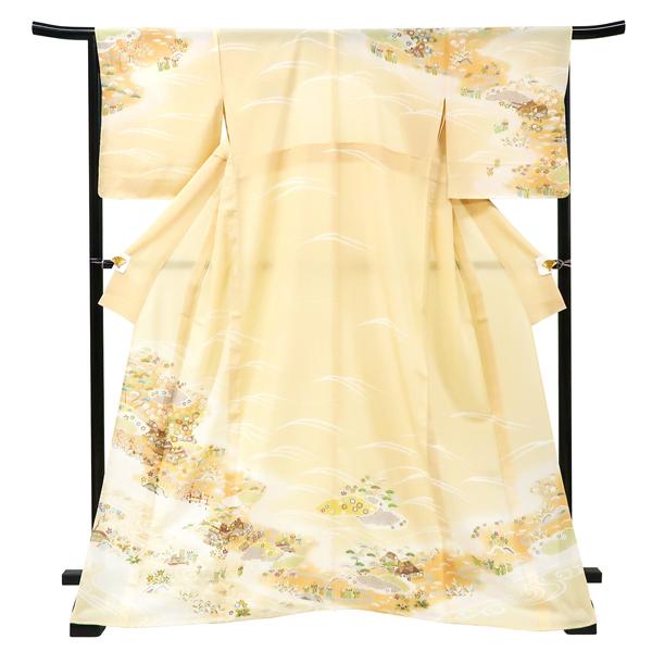 夏 絽 付下訪問着 仕立て上がり 新品 購入 販売 礼装着物 手描き京友禅 ベージュ 黄色 古典柄 正絹 フォーマル 夏物 夏着物 絽訪問着 夏訪問着 結婚式 パーティー 仕立て済み hn-77
