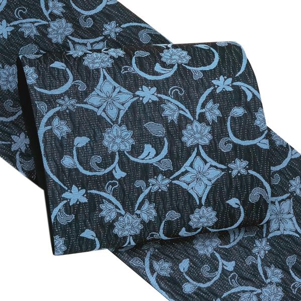 【京都イシハラ】洒落袋帯 仕立て上がり 正絹 西陣織 新品 購入 販売 紺色 青色 ネイビー 唐草 しゃれ袋帯 単衣帯 カジュアル 普段着 紬 小紋 江戸小紋 六通 絹 お仕立て済み 仕立て込み 帯 fo-450