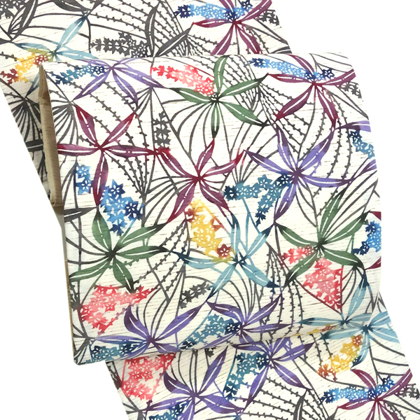 白寿苑 袋帯 仕立て付き 洒落袋帯 帯 ぜんまい紬 紅型染め 正絹 新品 販売 購入 未仕立て 六通 生成り ベージュ 紬 小紋 色無地 お洒落着 カジュアル 絹 仕立て込み 染帯 しゃれ袋帯 fo-318