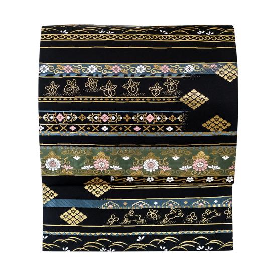 名古屋帯 仕立て上がり 佐々木染織 九寸 新品 販売 購入 正絹 西陣織 カジュアル セミフォーマル パーティー お茶 普段着 黒 古典柄 仕立て込み 絹 仕立て済み 九寸帯 no-132