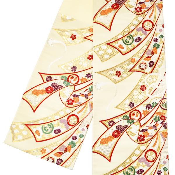 【佐々木染織】振袖用 袋帯 仕立て上がり 新品 販売 購入 振袖帯 正絹 西陣織 振袖 礼装 フォーマル 正絹 古典柄 熨斗 成人式 ベージュ ゴールド 仕立て込み 絹 仕立て済み 帯 ffo-215