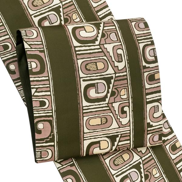 <アウトレット>織の弘彩 洒落 袋帯 カジュアル 仕立て付き 西陣織 正絹 洒落袋帯 新品 販売 購入 未仕立て 幾何学文様 モスグリーン 深い黄緑 洒落帯 仕立て込み fo-469