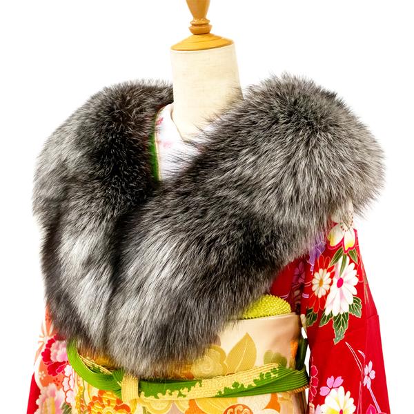 ≪15%OFFクーポンあり・超ポイントバック祭≫【SAGA FURS】振袖用ショール ファー シルバーフォックス 灰色 グレー マーブルカラー 振袖ショール ファーショール 北欧 成人式 着物 和装 ko-6