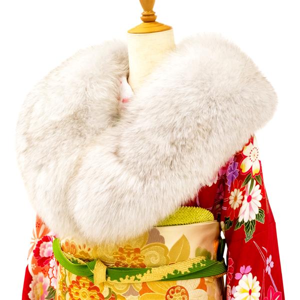 ≪15%OFFクーポンあり・超ポイントバック祭≫【SAGA FURS】振袖用ショール ファー ブルーフォックス 灰色 白 ホワイト 振袖ショール ファーショール 北欧 成人式 着物 和装 ko-5