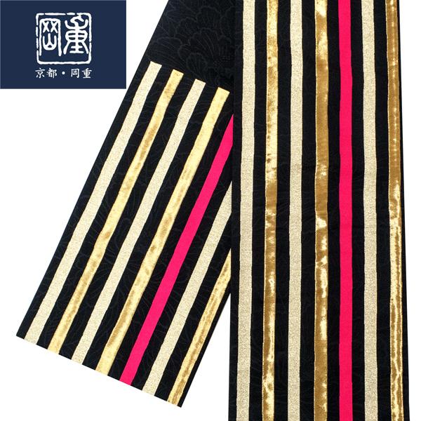 岡重 ゴールド 袋帯 仕立て上がり 絹 新品 販売 購入 正絹 振袖用 振袖 購入 礼装 フォーマル 縞 黒 金 ゴールド 仕立て込み 絹 仕立て済み 帯 成人式 ffo-230, ADVANCED:5b17fd78 --- data.gd.no