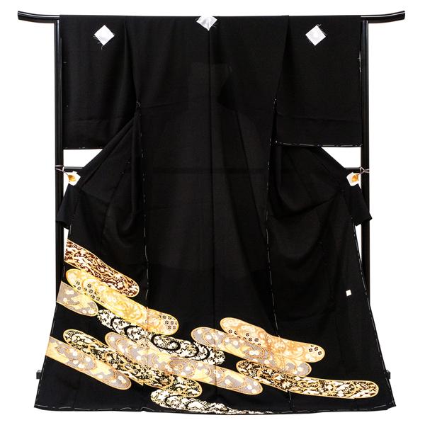 黒留袖 仕立て付き 販売 新品 購入 京友禅 観世水 フォーマル 正絹 礼装 着物 未仕立て 反物 結婚式 披露宴 仕立て込み kt-94