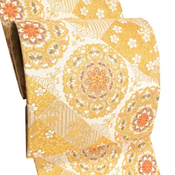浅田叡一 袋帯 フォーマル 仕立て上がり 礼装用 正絹 西陣織 新品 購入 販売 金色 宝相華 結婚式 訪問着 付下げ 色無地 仕立て済み 大衆演劇 絹 fo-416