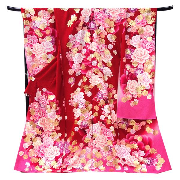 ≪3,000円OFFクーポンあり≫振袖 仕立て付き 販売 新品 購入 販売 赤 ピンク 牡丹 古典柄 正絹 未仕立て 仮絵羽 礼装 フォーマル 成人式 着物 仕立て込み 大衆演劇 振袖フルセット対象品 f-333
