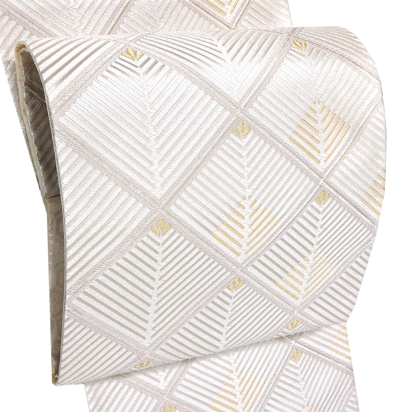 ≪10%OFF!! 決算セール≫【河合美術織物 フォーマル 袋帯 唐織 礼装用 仕立て付き】帯 新品 販売 購入 西陣織 礼装 正絹 未仕立て 六通 若松菱 白 シルバー 結婚式 絹 仕立て込み fo-652