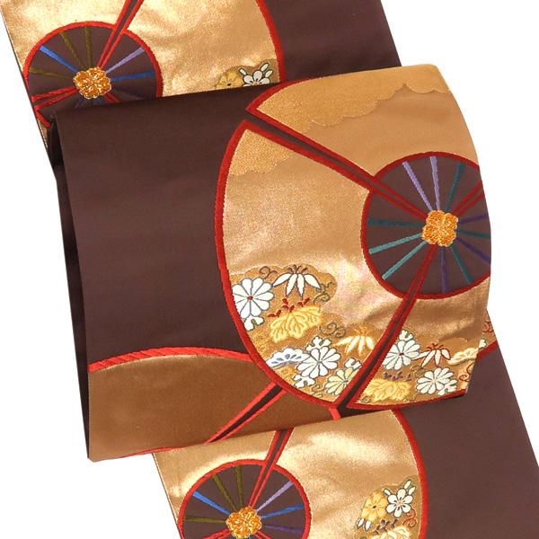 振袖 袋帯 仕立て付き 西陣織 購入 新品 販売 正絹 茶色 車輪 礼装用 振袖用 振袖帯 帯 成人式 結婚式 出来上がり 仕立て込み お仕立て上がり 仕立て済み 絹 アウトレットセール 在庫処分ffo-179