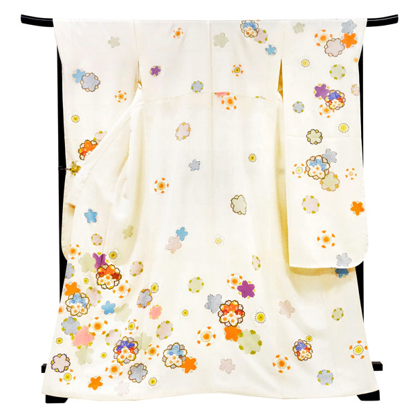 <アウトレット>振袖 仕立て上がり 新品 販売 購入 白色 桜 正絹 未使用 フォーマル 礼装 成人式 結婚式 卒業式 着物 絹 仕立て済み 仕立て込み 振袖フルセット対象品 f-262