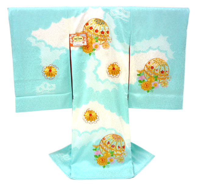 お宮参り 女の子 着物  産着 初着 フードセットプレゼント 刺繍 鹿の子絞り 販売 新品 水色 正絹鞠 女児 絞り ju-53