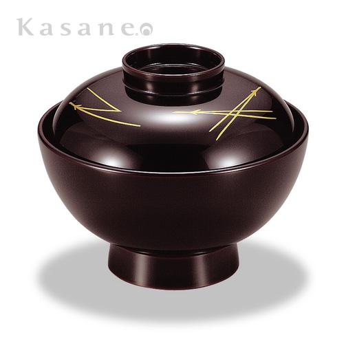 《漆器|山久漆工Kasane》ダイニングを和で彩る-定番の蓋付きお椀に松葉を 吸物椀 溜内黒 松葉 5客セット